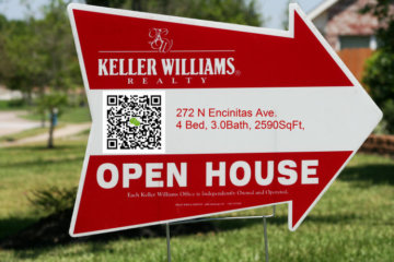 Open House sign with QR